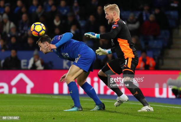 Ben Chilwell of Leicester City and Leicester City goalkeeper Kasper Schmeichel during the Premier League match between Leicester City and Tottenham...