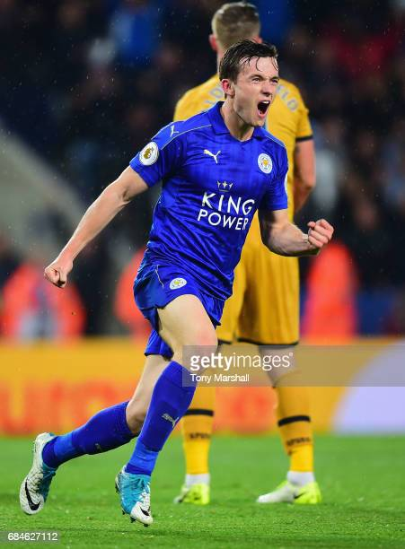 Ben Chilwell of Leicester City celebrates as he scores their first goal during the Premier League match between Leicester City and Tottenham Hotspur...