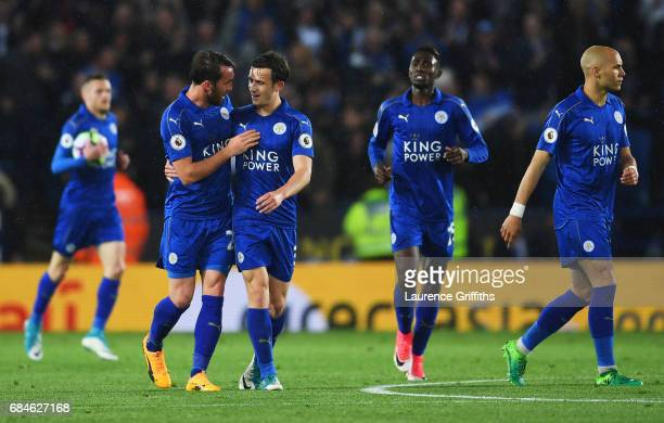 Ben Chilwell of Leicester City celebrates as he scores their first goal with team mate Christian Fuchs during the Premier League match between...