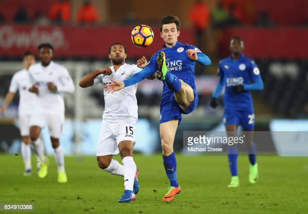 Ben Chilwell of Leicester City clears the ball from Wayne Routledge of Swansea City during the Premier League match between Swansea City and...