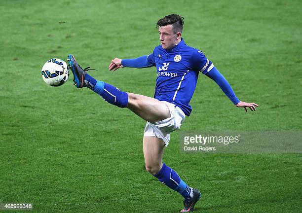 Ben Chilwell of Leicester City controls the ball during the FA Youth Cup semi final second leg match between Leicester City and Manchester City at...