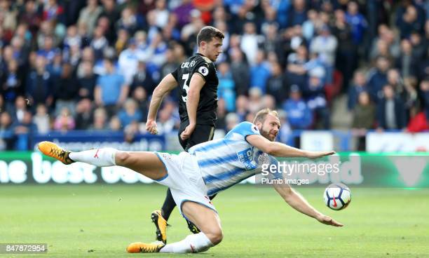 Ben Chilwell of Leicester City in action with Laurent Depoitre of Huddersfield Town during the Premier League match between Huddersfield Town and...