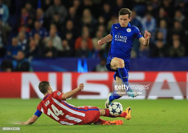 Ben Chilwell of Leicester City is tackled by Gabi of Atletico Madrid during the UEFA Champions League Quarter Final second leg match between...
