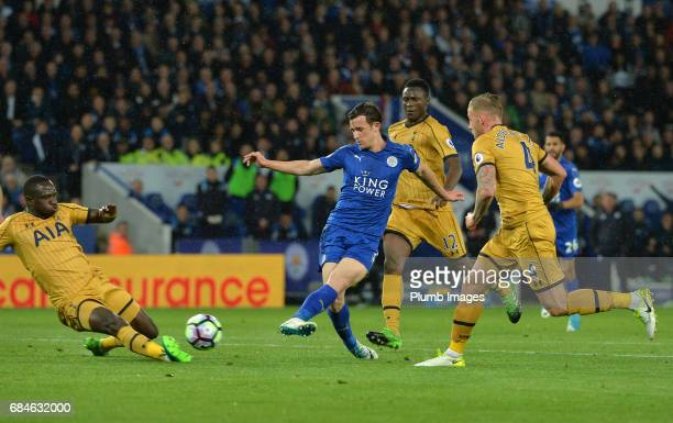 Ben Chilwell of Leicester City scrores to make it 12 during the Premier League match between Leicester City and Tottenham Hotspur at King Power...