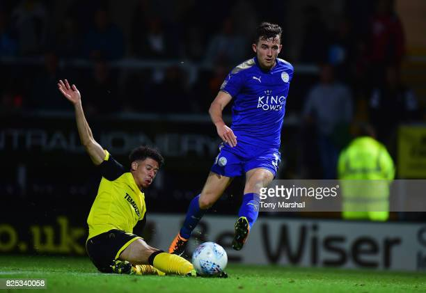 Ben Chilwell of Leicester City shoots at goal during the PreSeason Friendly match between Burton Albion v Leicester City at Pirelli Stadium on August...