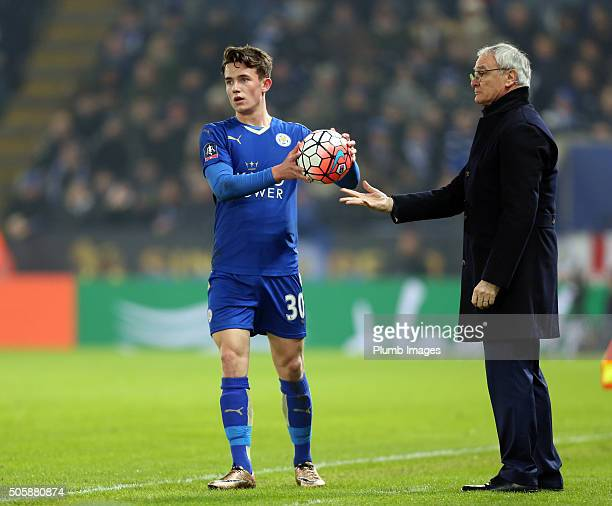 Ben Chilwell of Leicester City with manager Claudio Ranieri of Leicester City during The Emirates FA Cup Third Round Replay match between Leicester...