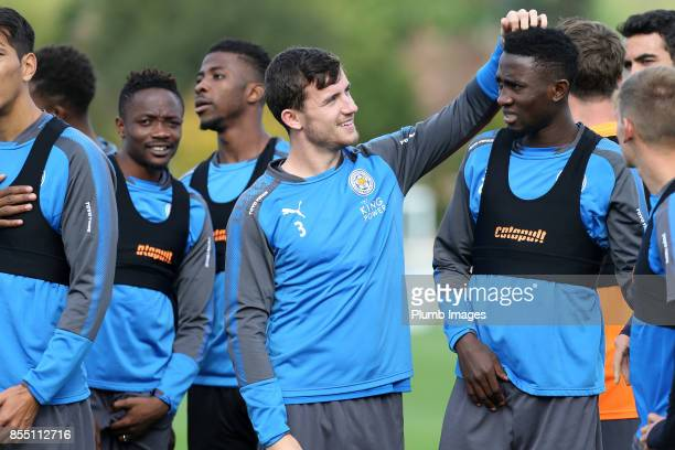 Ben Chilwell with Wilfred Ndidi during the Leicester City training session at Belvoir Drive Training Complex on September 28 2017 in Leicester United...