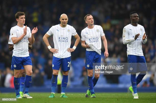 Ben Chilwell Yohan Benalouane Andy King and Daniel Amartey of Leicester City acknowledge the fans after the Premier League match between Everton and...