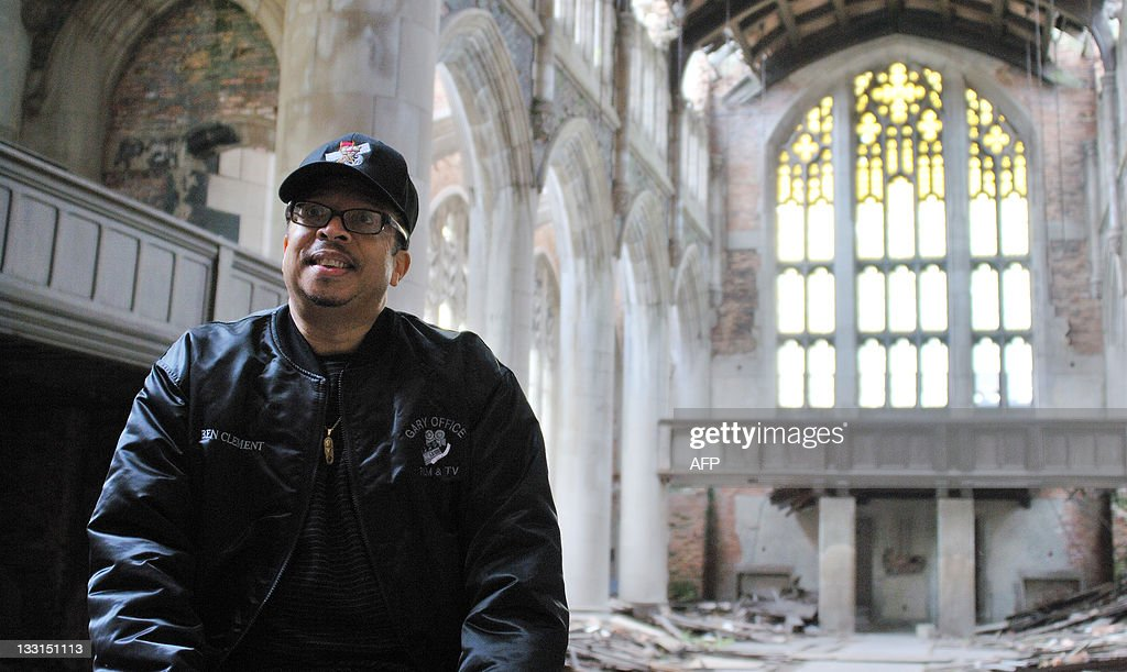 Ben Clements, director of the Gary Office of Film and Television is seen on November 2, 2011 in the gothic City Methodist Church, which has been abandoned for about 30 years has been used in at least 75 projects, including Transformers 3, Nightmare on Elm Street and a gospel music video. Gary, Indiana is using its thousands of abandoned buildings and proximity to Chicago to draw the film industry to this hard-hit industrial town. But without many restaurants, shops and hotels most of the money movie crews bring gets spent in neighboring towns. AFP PHOTO/MIRA OBERMAN