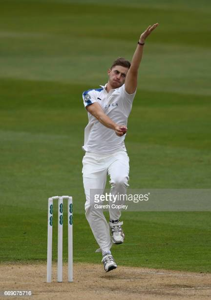 Ben Coad of Yorkshire bowls during day three of the Specsavers County Championship Division One match between Warwickshire and Yorkshire at Edgbaston...
