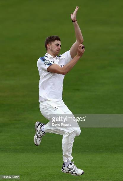 Ben Coad of Yorkshire bowls during the Specsavers County Championship One match between Warwickshire and Yorkshire at Edgbaston on April 14 2017 in...