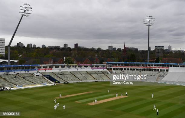 Ben Coad of Yorkshire bowls to William Porterfield of Warwickshire during day three of the Specsavers County Championship Division One match between...