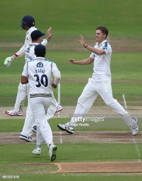 Ben Coad of Yorkshire celebrates taking the wicket of Haseeb Hameeb of Lancashire during Day One of the Specsavers County Championship Division One...