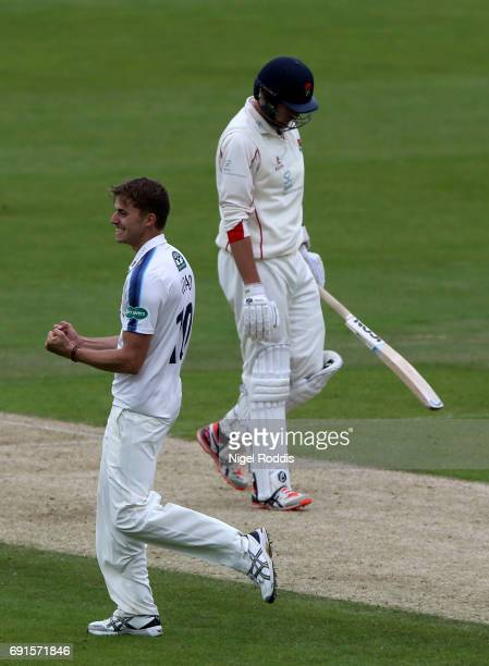 Ben Coad of Yorkshire celebrates taking the wicket of Tom Bailey of Lancashire during Day One of the Specsavers County Championship Division One...