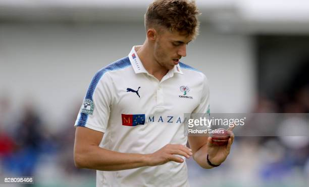 Ben Coad of Yorkshire during the Specsavers County Championship Division One between Yorkshire and Essex at North Marine Road on August 7 2017 in...