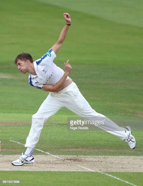Ben Coad of Yorkshire in action during Day One of the Specsavers County Championship Division One match between Yorkshire and Lancashire at...