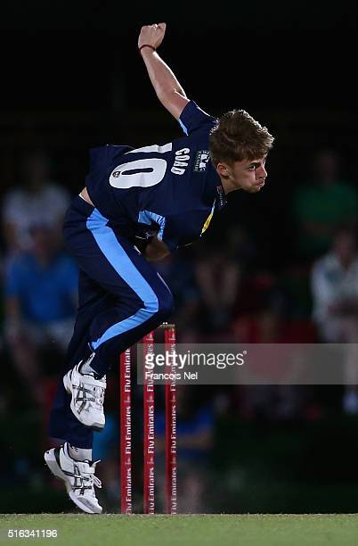 Ben Coad of Yorkshire Vikings bowls during the Emirates Airline T20 Cup Final match between Lancashire Lightning and Yorkshire Vikings at the Sevens...