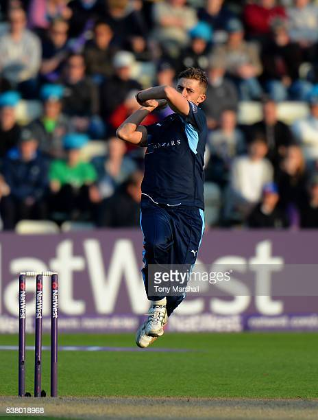 Ben Coad of Yorkshire Vikings bowls during the NatWest T20 Blast match between Worcestershire Rapids and Yorkshire Vikings at New Road on June 2 2016...