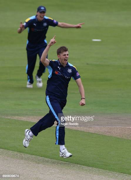 Ben Coad of Yorkshire Vikings celebrates taking the wicket of Mark Stoneman of Surrey during the Royal London OneDay Cup Play Off between Yorkshire...