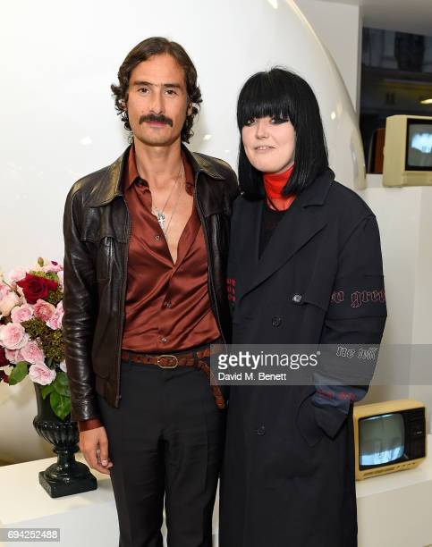 Ben Cobb and Ellie Grace Cumming attend a cocktail event for the launch of a special Gucci PreFall capsule exclusive to Dover Street Market on June 9...