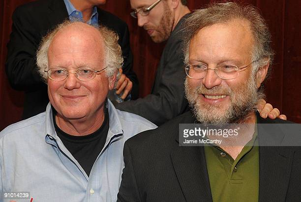 Ben Cohen and Jerry Greenfield cofounders of Ben Jerry's at Ben Jerry's attend Ben Jerry's 10th Anniversay Celebration Of Peace Day at The Box on...