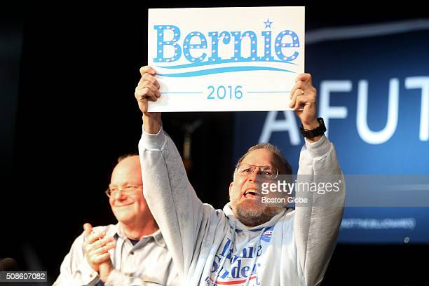 Ben Cohen and Jerry Greenfield cofounders of Ben Jerry's were on hand to introduce Bernie Sanders at the start of a 'Get Out the Vote' rally at Town...