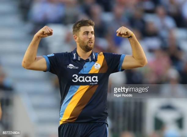 Ben Cotton of Derbyshire Falcons celebrates taking the wicket of George Bailey of Hampshire during the NatWest T20 Blast at The 3aaa County Ground on...