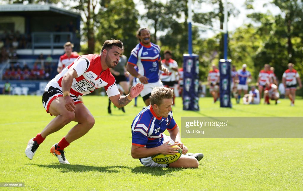 Ben Cotton of the Rams scores a try during the round nine NRC match between the Rams and Canberra at TG Milner Oval on October 29, 2017 in Sydney, Australia.