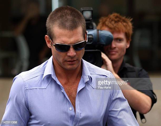Ben Cousins arrives at the Perth Magistrates Court on April 2 2012 in Perth Australia Former AFL player Cousins was arrested last week on drugs...
