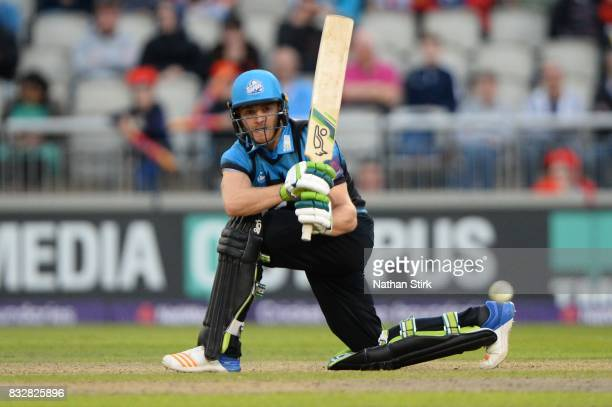 Ben Cox of Worcestershire Rapids in action during the NatWest T20 Blast match between Lancashire Lightning and Worcestershire Rapids at Old Trafford...