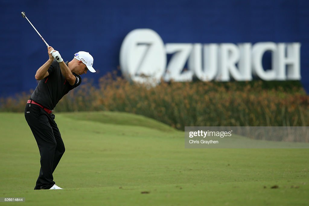 Ben Crane hits his third shot on the 18th hole during the continuaiton of the second round of the Zurich Classic of New Orleans at TPC Louisiana on April 30, 2016 in Avondale, Louisiana.