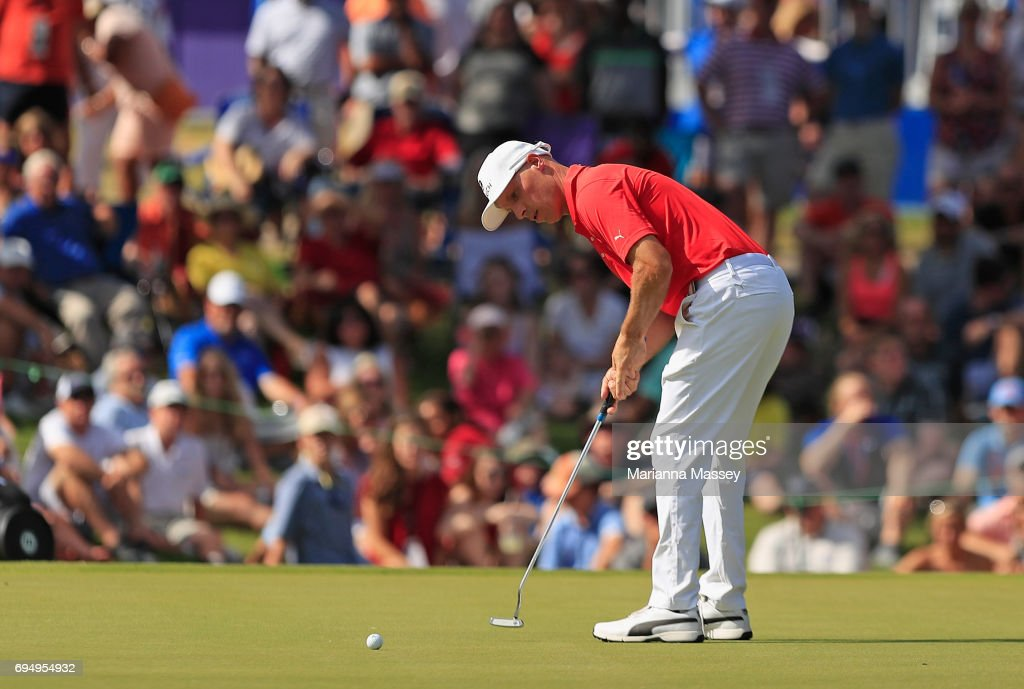 Ben Crane putts on the 18th hole during the final round of the FedEX St. Jude Classic at the TPC Southwind on June 11, 2017 in Memphis, Tennessee.