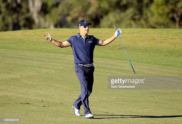 Ben Crane reacts to a shot from the fairway on the first playoff hole during the final round of the McGladrey Classic at Sea Island's Seaside Course...