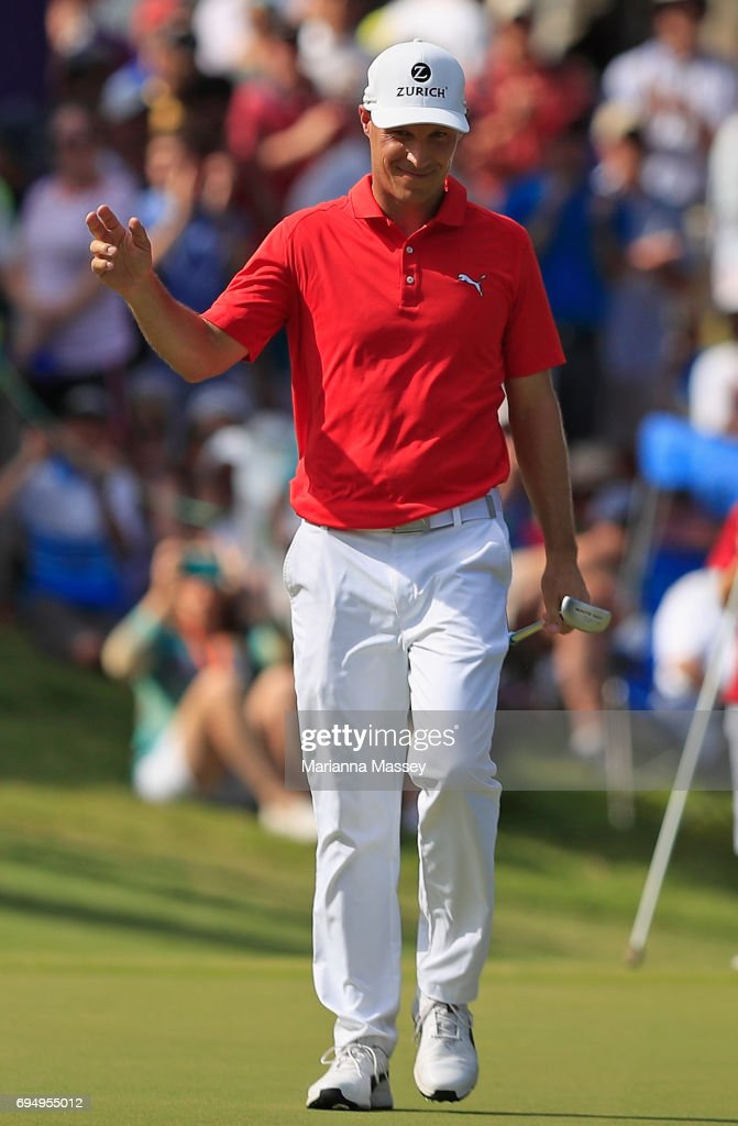Ben Crane reacts to his putt on the 18th hole during the final round of the FedEX St. Jude Classic at the TPC Southwind on June 11, 2017 in Memphis, Tennessee.