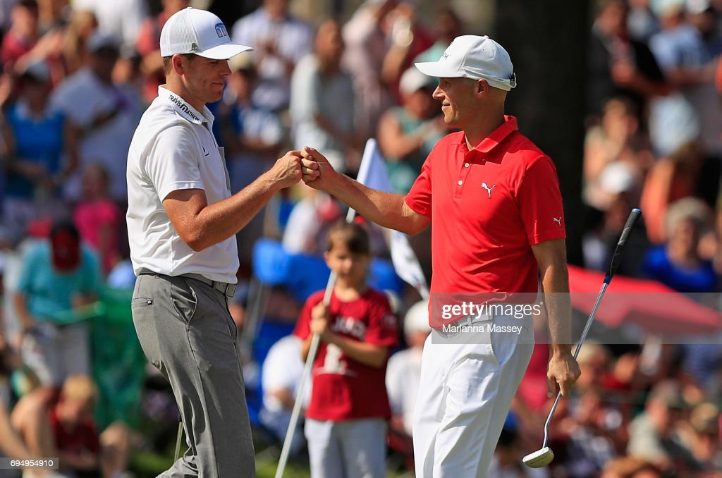 Ben Crane reacts to his putt with Luke List on the 18th hole during the final round of the FedEX St. Jude Classic at the TPC Southwind on June 11, 2017 in Memphis, Tennessee.