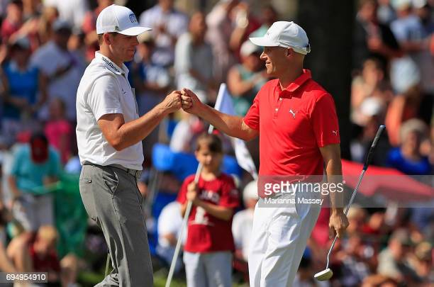Ben Crane reacts to his putt with Luke List on the 18th hole during the final round of the FedEX St Jude Classic at the TPC Southwind on June 11 2017...