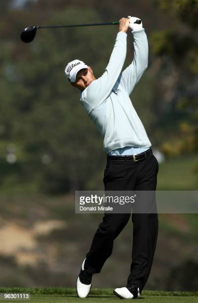 Ben Crane tees off the fifth hole during the final round of the 2010 Farmers Insurance Open on January 31 2010 at Torrey Pines Golf Course in La...