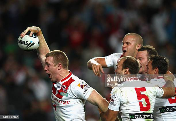 Ben Creagh of the Dragons celebrates after he scored the winning try during the round eight NRL match between the St George Illawarra Dragons and the...