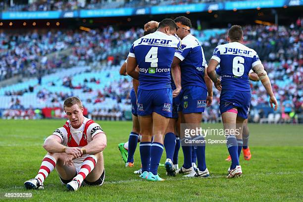 Ben Creagh of the Dragons looks dejected after a try by Tim Lafai of the Bulldogs during the round nine NRL match between the St George Illawarra...