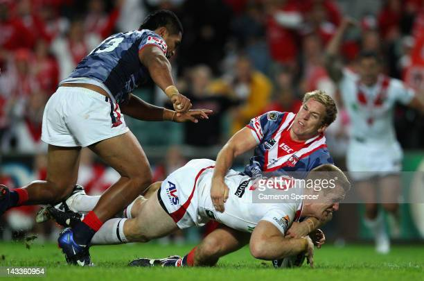 Ben Creagh of the Dragons scores a try during the round eight NRL match between the St George Illawarra Dragons and the Sydney Roosters at Allianz...
