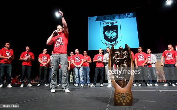 Ben Creagh of the Dragons sings the club song during the St George Illawarra Dragons NRL Grand Final Reception at the WEC on October 4 2010 in...