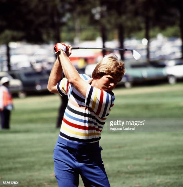 Ben Crenshaw at the top of his swing during the 1977 Masters Tournament at Augusta National Golf Club in April 1977 in Augusta Georgia