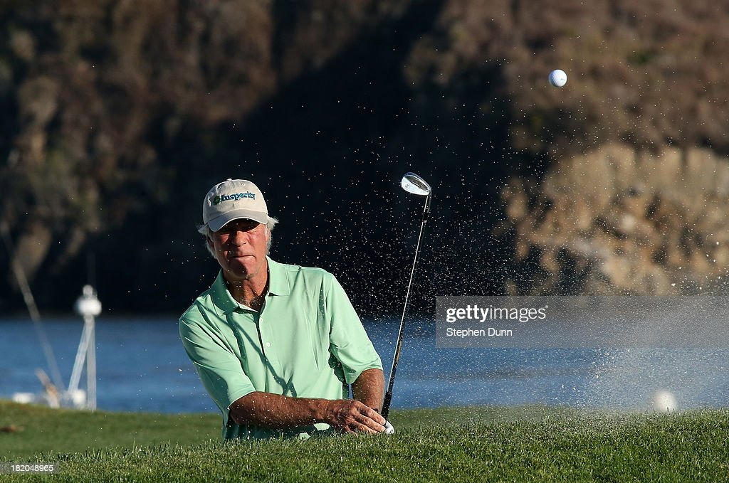 <a gi-track='captionPersonalityLinkClicked' href=/galleries/search?phrase=Ben+Crenshaw&family=editorial&specificpeople=213758 ng-click='$event.stopPropagation()'>Ben Crenshaw</a> hits out of a bunker on the 17th hole durng the first round of the Nature Valley First Tee Open at Pebble Beach at Pebble each Golf Links on September 27, 2013 in Pebble Beach, California.