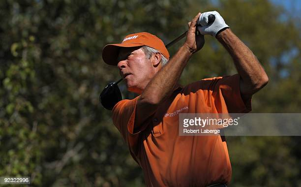 Ben Crenshaw makes a tee shot on the 12th hole during the second round of the PGA Champions Tour ATT Championship at the Oak Hills Country Club on...