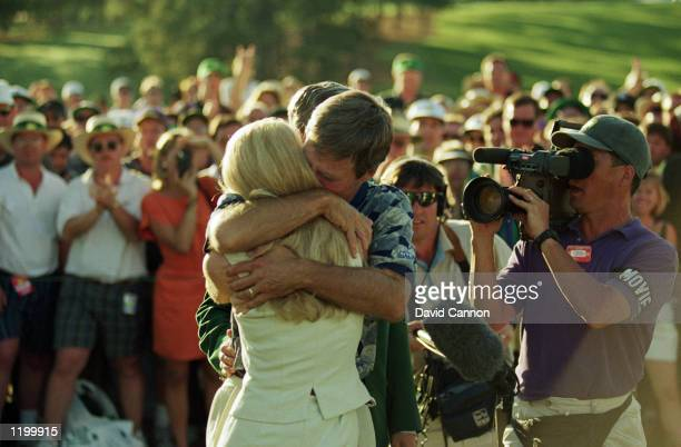 Ben Crenshaw of the USA embraces wife Julie after victory in the US Masters at the Augusta National Golf Club in Augusta Georgia USA on April 9 1995