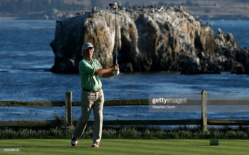 <a gi-track='captionPersonalityLinkClicked' href=/galleries/search?phrase=Ben+Crenshaw&family=editorial&specificpeople=213758 ng-click='$event.stopPropagation()'>Ben Crenshaw</a> watches his tee shot on the 18th hole durng the first round of the Nature Valley First Tee Open at Pebble Beach at Pebble each Golf Links on September 27, 2013 in Pebble Beach, California.