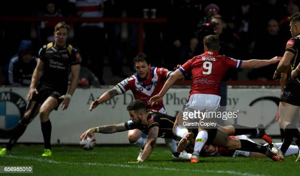 Ben Crooks of Leigh scores a first half try during the Betfred Super League match between Wakefield Trinity and Leigh Centurions at Belle Vue on...