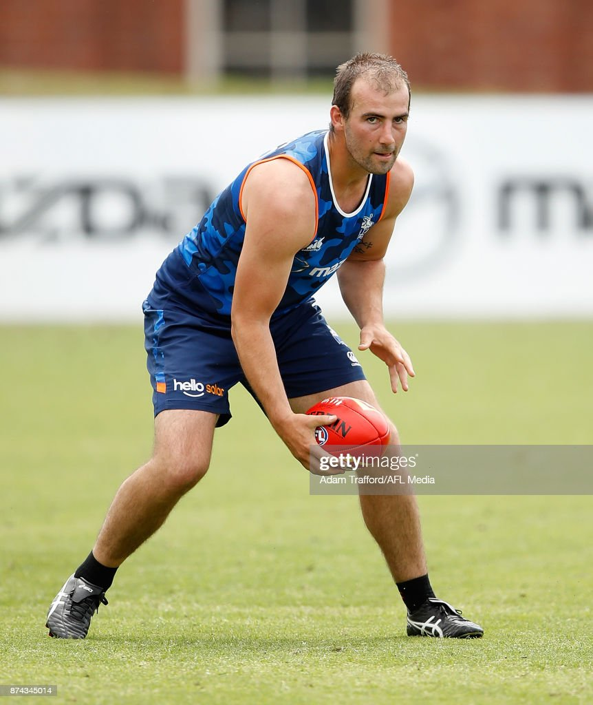 Ben Cunnington of the Kangaroos in action during the North Melbourne Kangaroos training session at Arden St on November 15, 2017 in Melbourne, Australia.