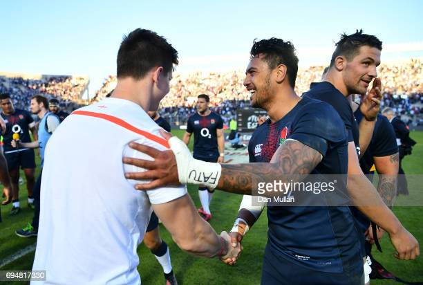 Ben Curry of England congratulates Denny Solomona of England following the ICBC Cup match between Argentina and England at the Estadio San Juan del...