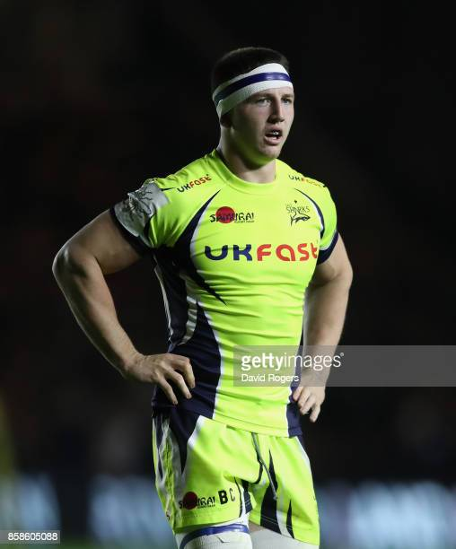 Ben Curry of Sale looks on during the Aviva Premiership match between Harlequins and Sale Sharks Sharks at Twickenham Stoop on October 6 2017 in...